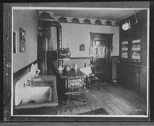 "1900 ""Garland"" kitchen stove in situ, DPC"