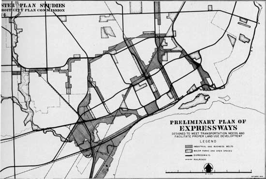 Discuss Detroit: Detroit Expressway Planning circa 1945 on map of hwy 301, map of dulles greenway, map of indiana toll road, map of dulles toll road, map of suncoast parkway,