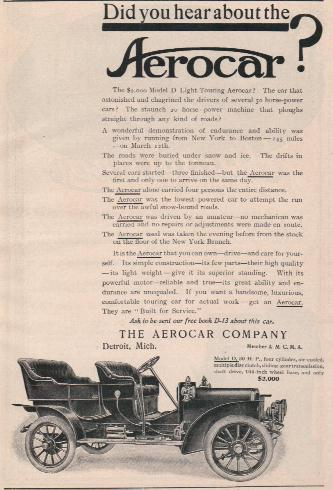 "1907 Aerocar. ""Built for service"", price $2000"
