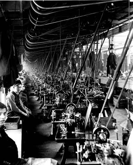 Cadillac factory Leland era machine shop turret lathes