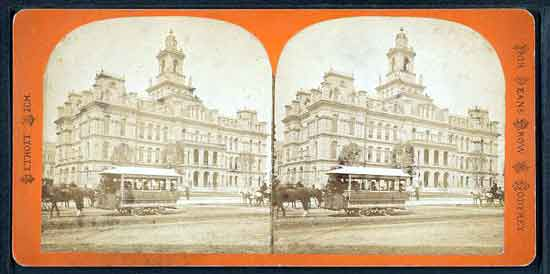 Stereo view of horse trolley Detroit City Hall