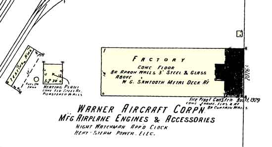 Warner Aircraft 1929 map