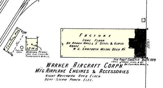 Warner Aircraft 1929 map