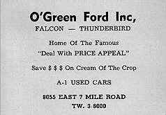1961 ad for O'Green Ford