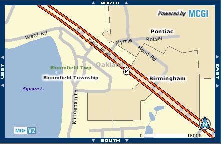 Birmingham borders Pontiac
