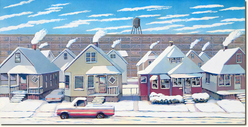Detroit Winter - Lowell Boileau - Micropointillist Acrylic on Canvas - 2015